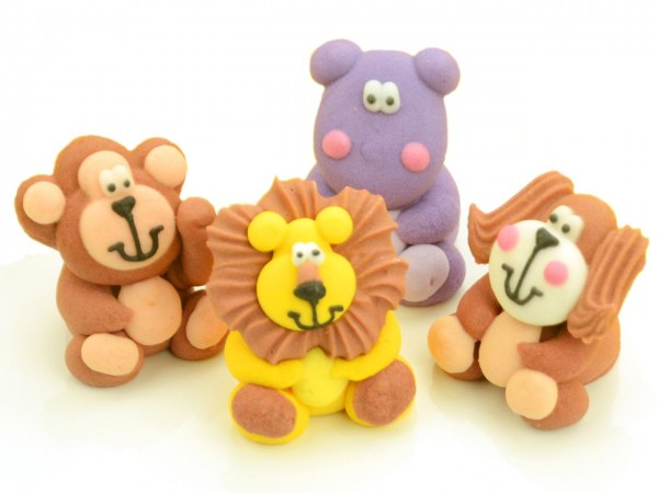 Zuckerdekor Tierfiguren sitzend 4 Stk