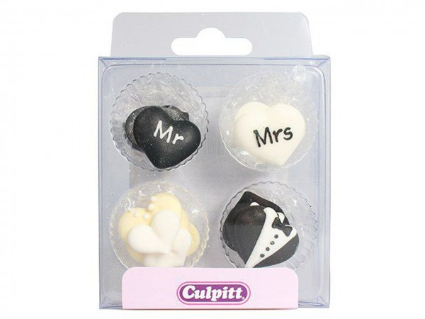 Zuckerdekor Mr & Mrs 12 Stk