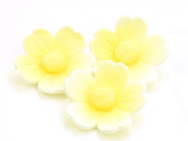 Zuckerdekor Blumen gelb 6 Stk 40mm