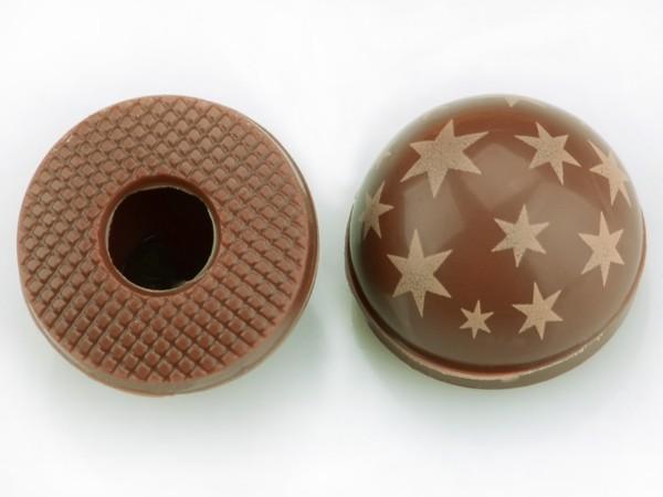 Halbkugeln mit Sternen Vollmilch - Folie je 54 Stück