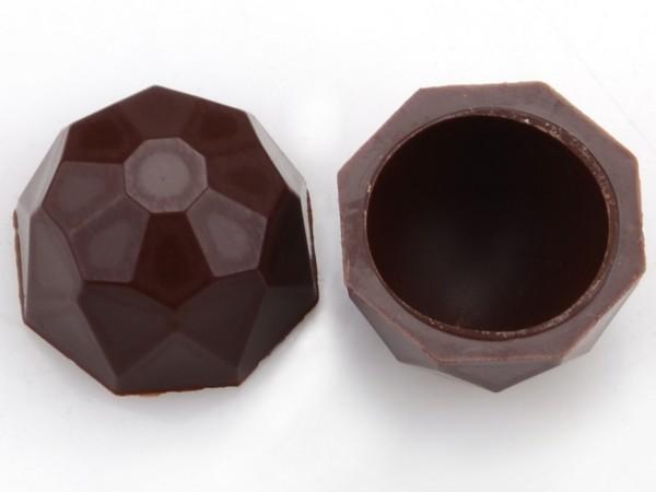 Diamanten-Schalen Hohlkörper Zartbitter - Folie je 63 Stück