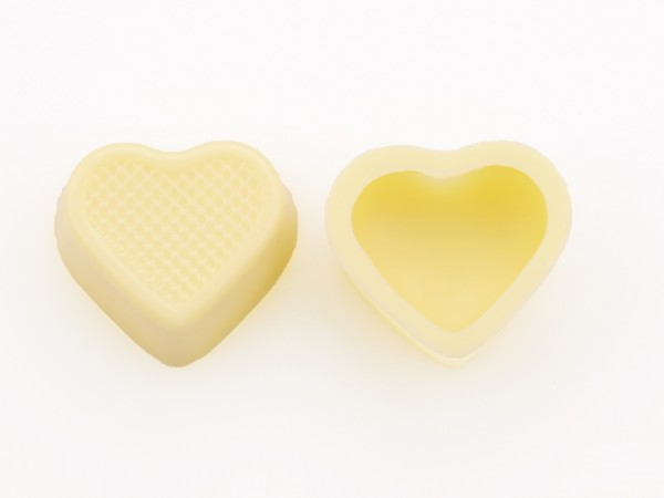 Herzschalen Hohlkörper Weiß - Folie je 54 Stück