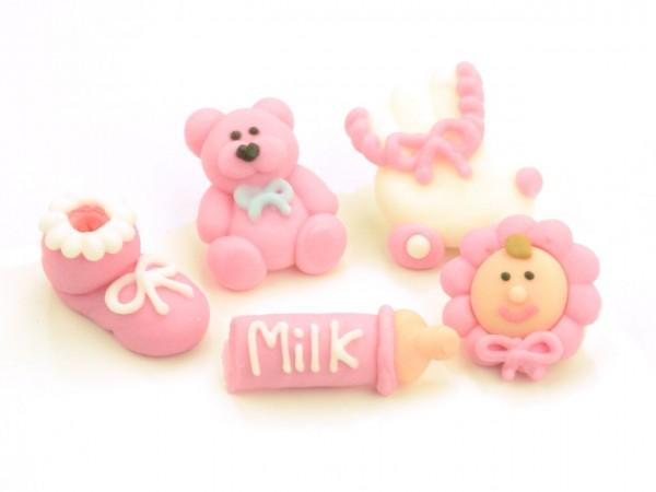 Zuckerdekor Taufset Baby rosa 5 Stk