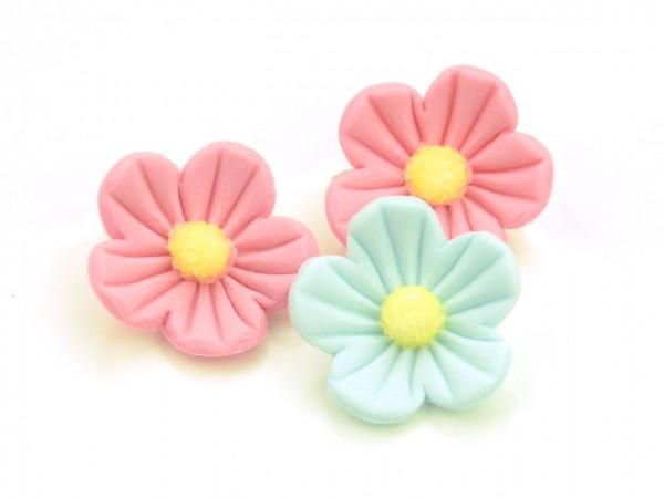 Zuckerdekor Blumen rosa-blau 16Stk 25mm